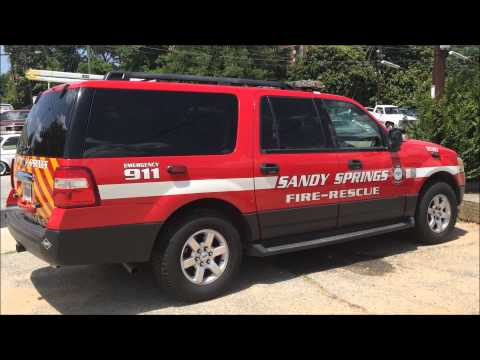 WALK AROUND OF A SANDY SPRINGS FIRE-RESCUE UNIT ON BOYLSTON DRIVE IN SANDY SPRINGS, GEORGIA.