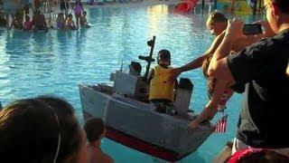 Our DIY Cardboard Battleship Sunk! || Konas Vlog || Konas2002