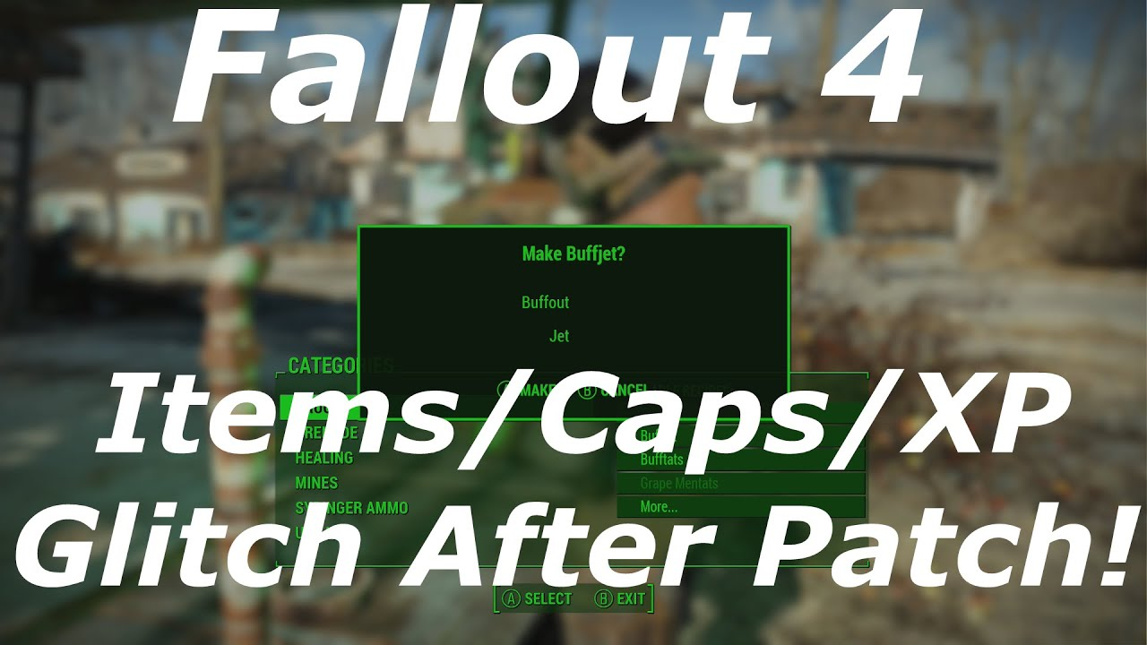 Fallout 4 infinite items, xp & caps glitch after patch 1. 2.
