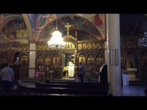 Divine liturgy in Melkite church of Annunciation