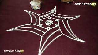 Unique Freehand Rangoli Design | Simple & Easy Muggulu Rangoli | Creative Kolam Designs