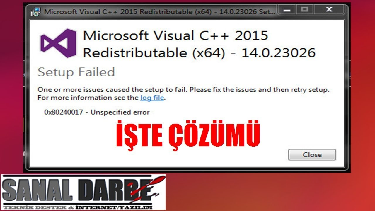 0x80240017 Microsoft Visual C++ 2015 Kurma Hatası Çözümü