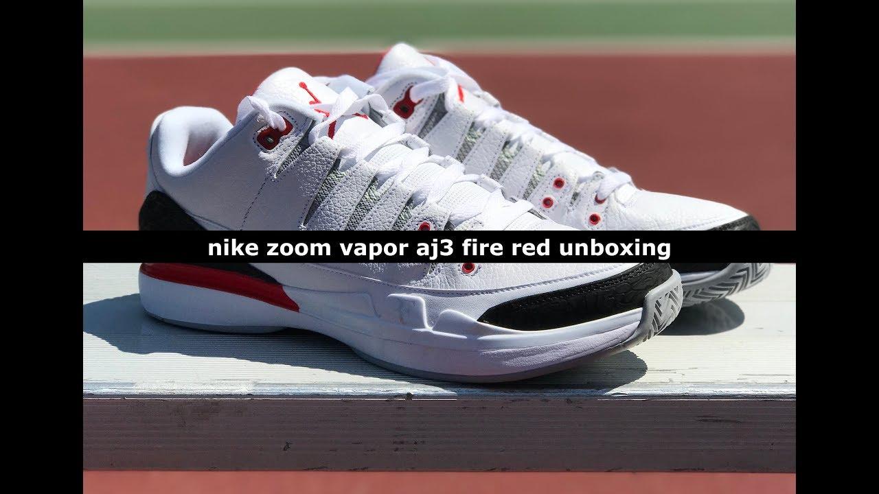 230b407de4209 Unboxing  Nike Zoom Vapor AJ3 Fire Red - YouTube