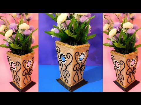 Wow!! Beautiful flower Pot/Vase made with Cardboard ll DIY