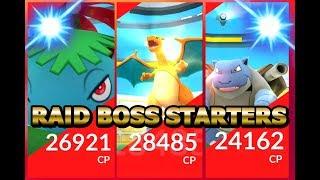 Pokémon GO LEVEL 4 Raid ALL STARTERS Charizard Blastoise Venusaur 100% IV!