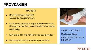 Information om Sfis nationella prov på svenska, Komvux Falun