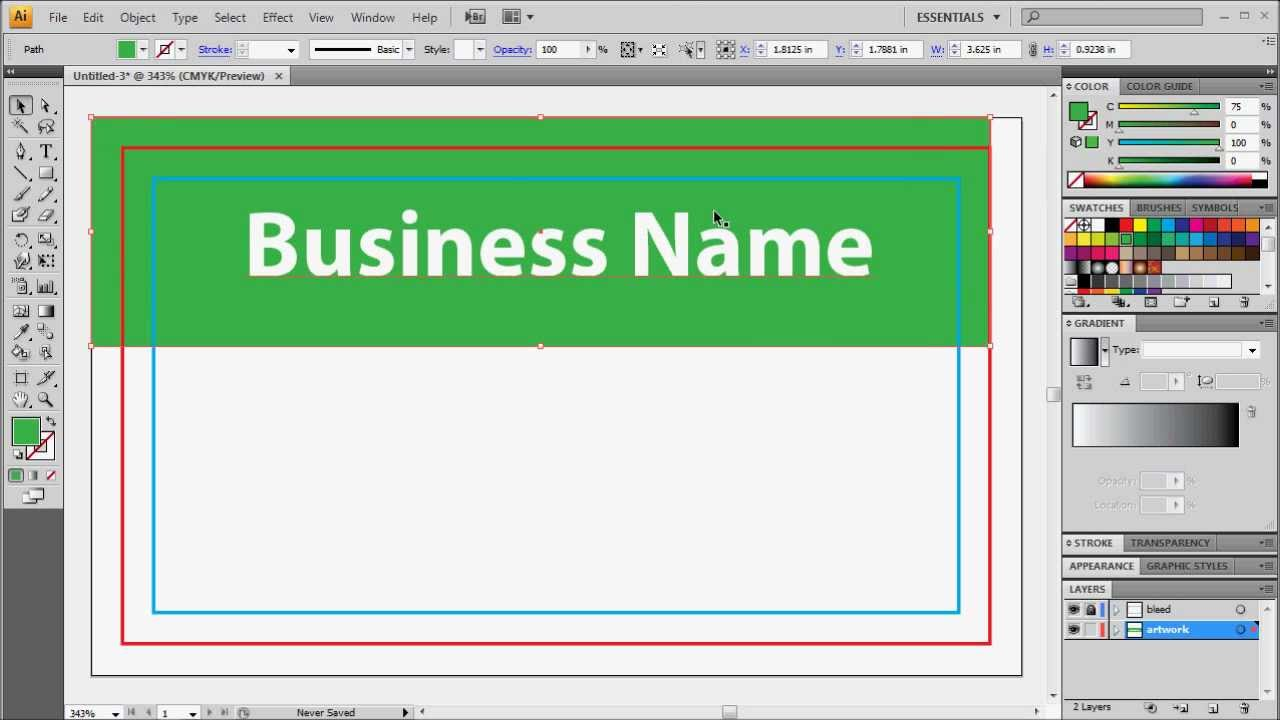 Preparing adobe illustrator for business card printing youtube fbccfo Images