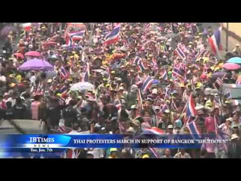 """Thai Protesters March In Support Of Bangkok """"Shutdown"""""""