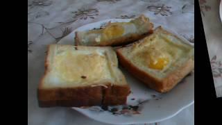 Быстрый завтрак или яичница в хлебе. Запекаем в духовке. Быстро, сытно и вкусно.