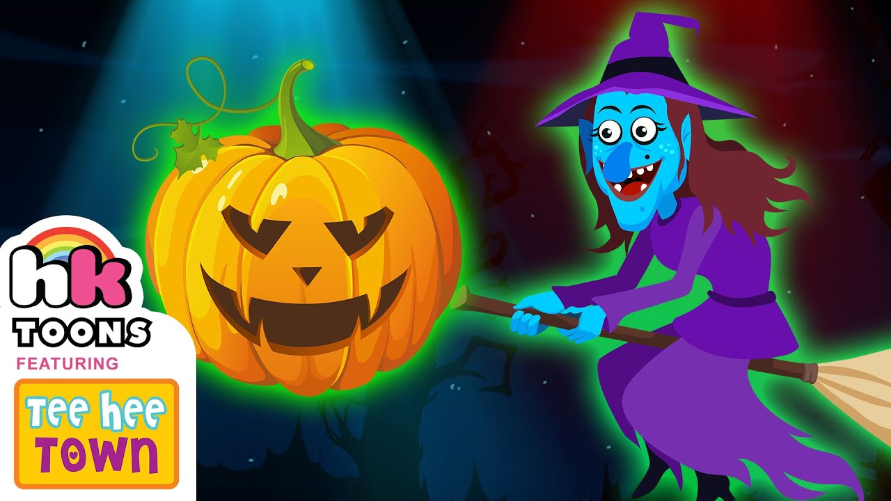 Witch On Her Broomstick Counting Game   Halloween Learning Videos   Hooplakidz Toons
