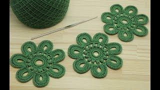 Вязание ЦВЕТКА крючком видео урок  - Crochet flower pattern