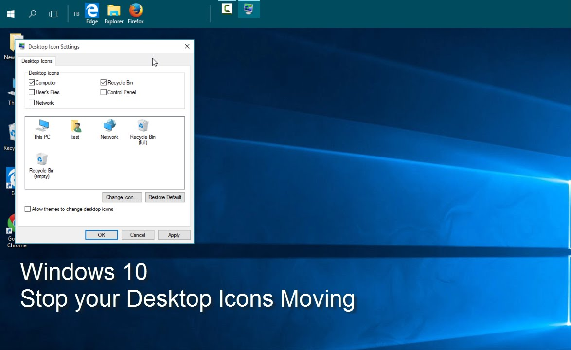 How to move desktop icons