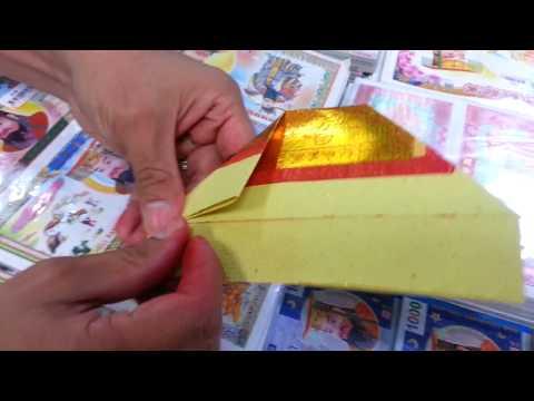 Origami Simple fold Chinese Gold Ingot (cara sederhana melipat kertas sembahyang)