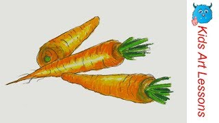 How to Draw Carrots Easy Step by Step Vegetables Drawing in Pastel