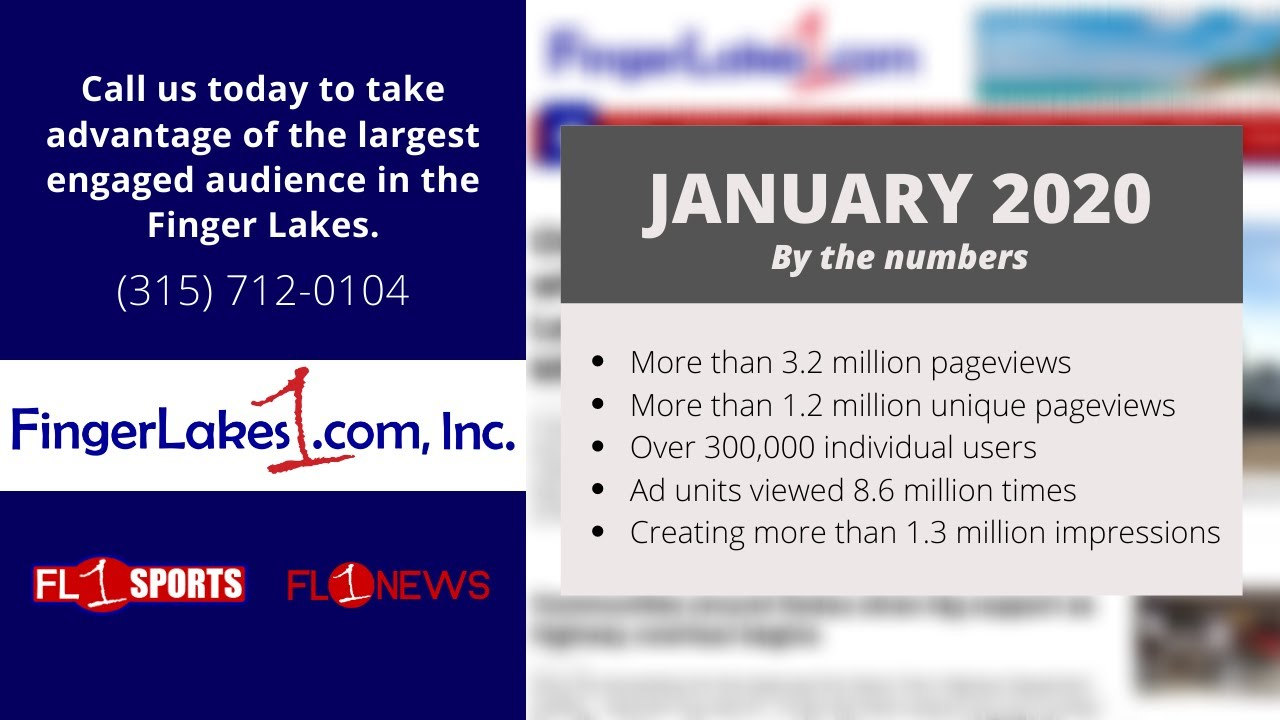 FingerLakes1.com has biggest traffic month of all-time in January 2020
