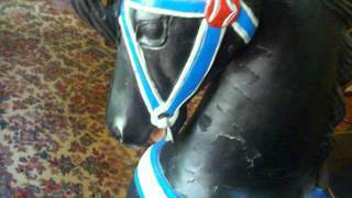 Wooden Full Size Carousel Horse, Real Black Beauty with Dog Face Motif ... FOR SALE!