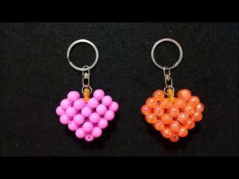 Membuat gantungan kunci love//Valentine//Mote//Diy//Tutorial//Beaded key chain//Heart