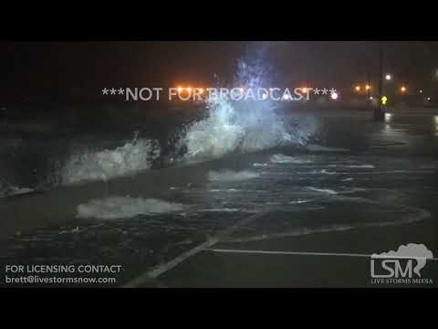 10-7-2017 Gulfport, Ms Hurricane Nate 8pm bands moving in on the Mississippi Coast with huge waves