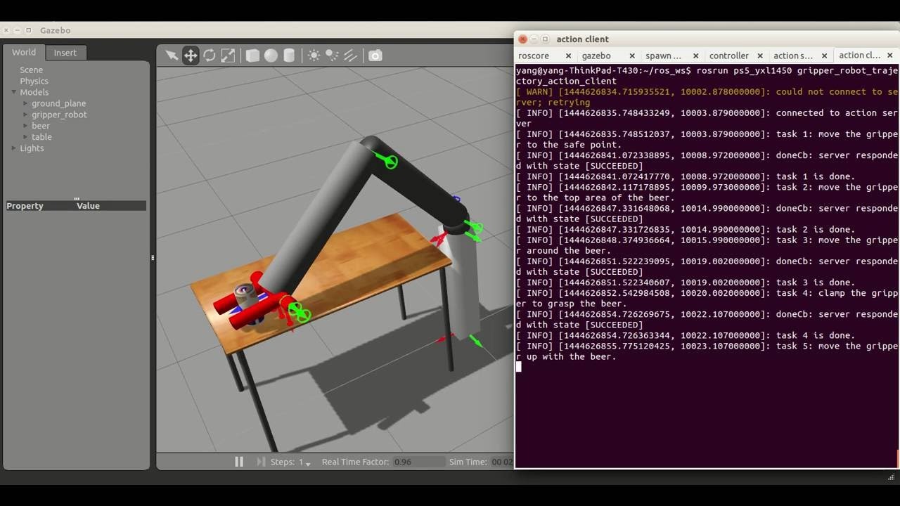 Gripper robot simulation in Gazebo with ROS