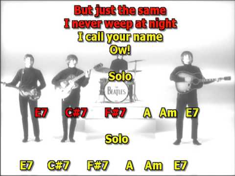 I call your name Beatles best karaoke instrumental lyrics chords