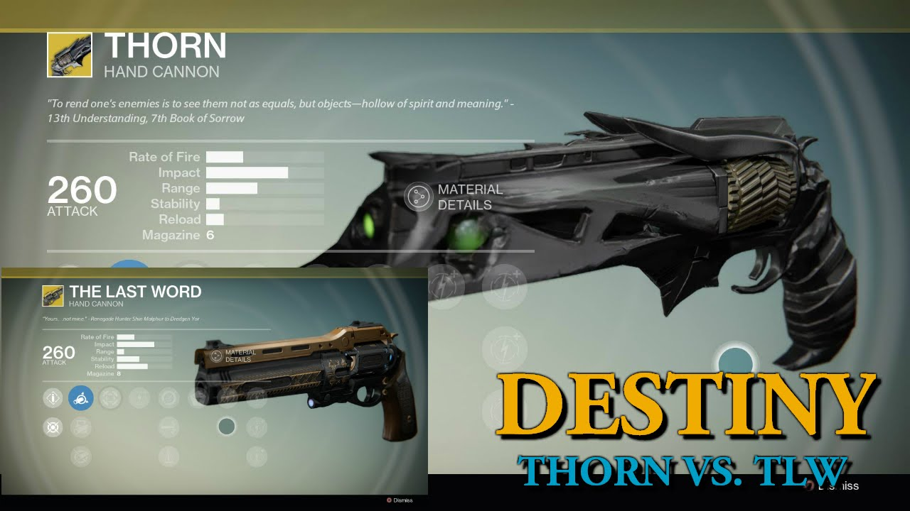 Thorn vs The Last Word - The Best Destiny PvP Hand Cannon? - YouTube