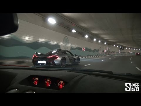 Onboard Lamborghini LP570 STS with McLaren P1 around Dubai (including Flames!)