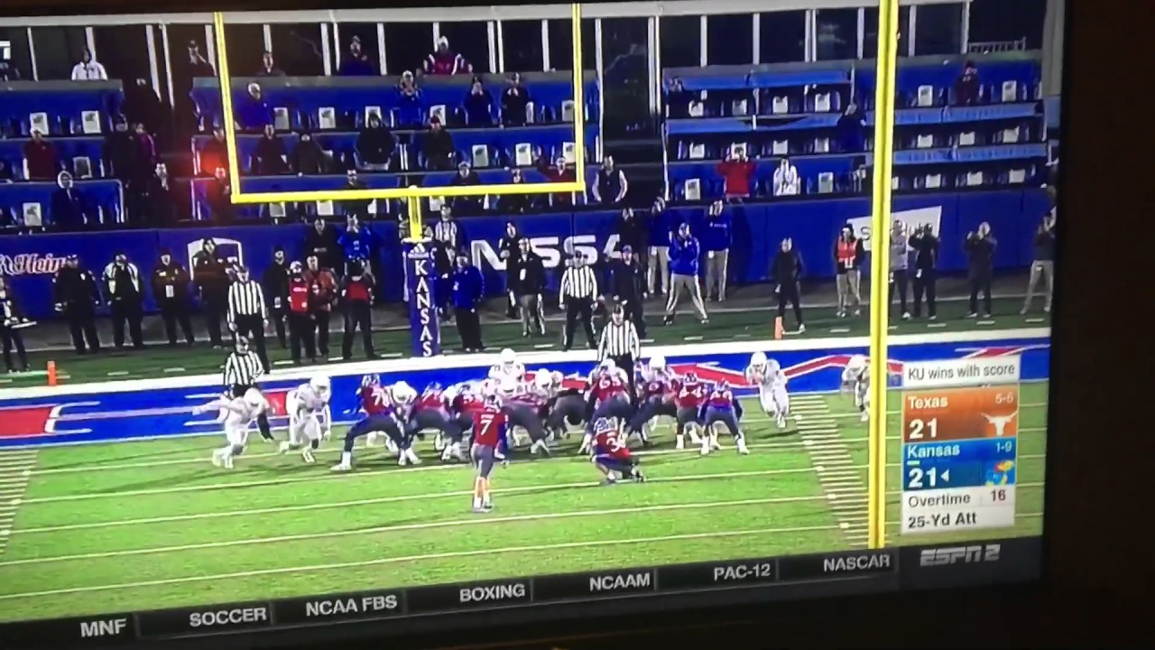 Kansas Upsets Texas With A Game Winning Field Goal In Overtime