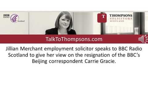 Employment lawyer speaks to BBC Radio Scotland on Carrie Gracie resignation