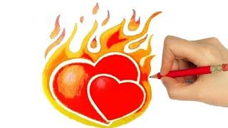 CORAÇÃO em chamas/ pegando fogo - como desenhar  - how to draw a HEART