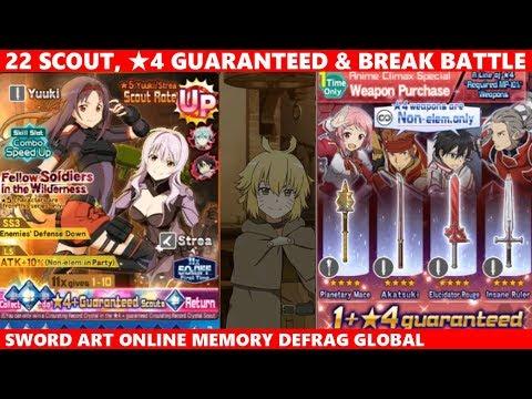 4stars Weapon Guaranteed, Yuuki Strea Rate UP 22 Scouts & Break Battle (SAOMD Memory Defrag)