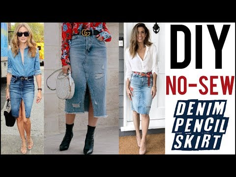 DIY: How To Make a Denim Pencil Skirt - NO-SEW!! - by Orly Shani - YouTube