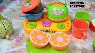 Unboxing Toys Review/demos - Part 2 Kitchen Basket Set Chopping Food Tea Time Imitate Mommy Cooking