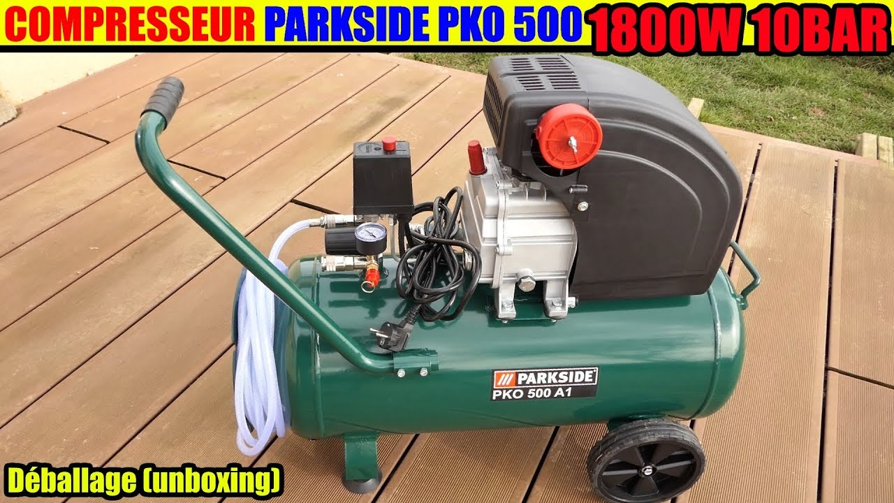 compresseur parkside pko 500 a1 lidl deballage compressor. Black Bedroom Furniture Sets. Home Design Ideas
