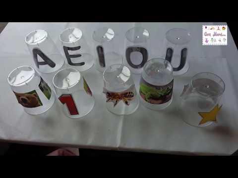 Actividad con vasos descartables para trabajar con niños de preescolar.