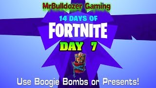 🎅Fortnite Season 7 14 Days of Fortnite Day 7 Use Boogie Bombs or Presents! (Munchkin Back Bling)🎅