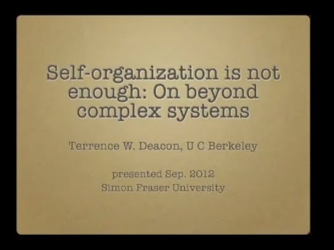 Terrence Deacon - Self-organization is not enough: on beyond complex systems