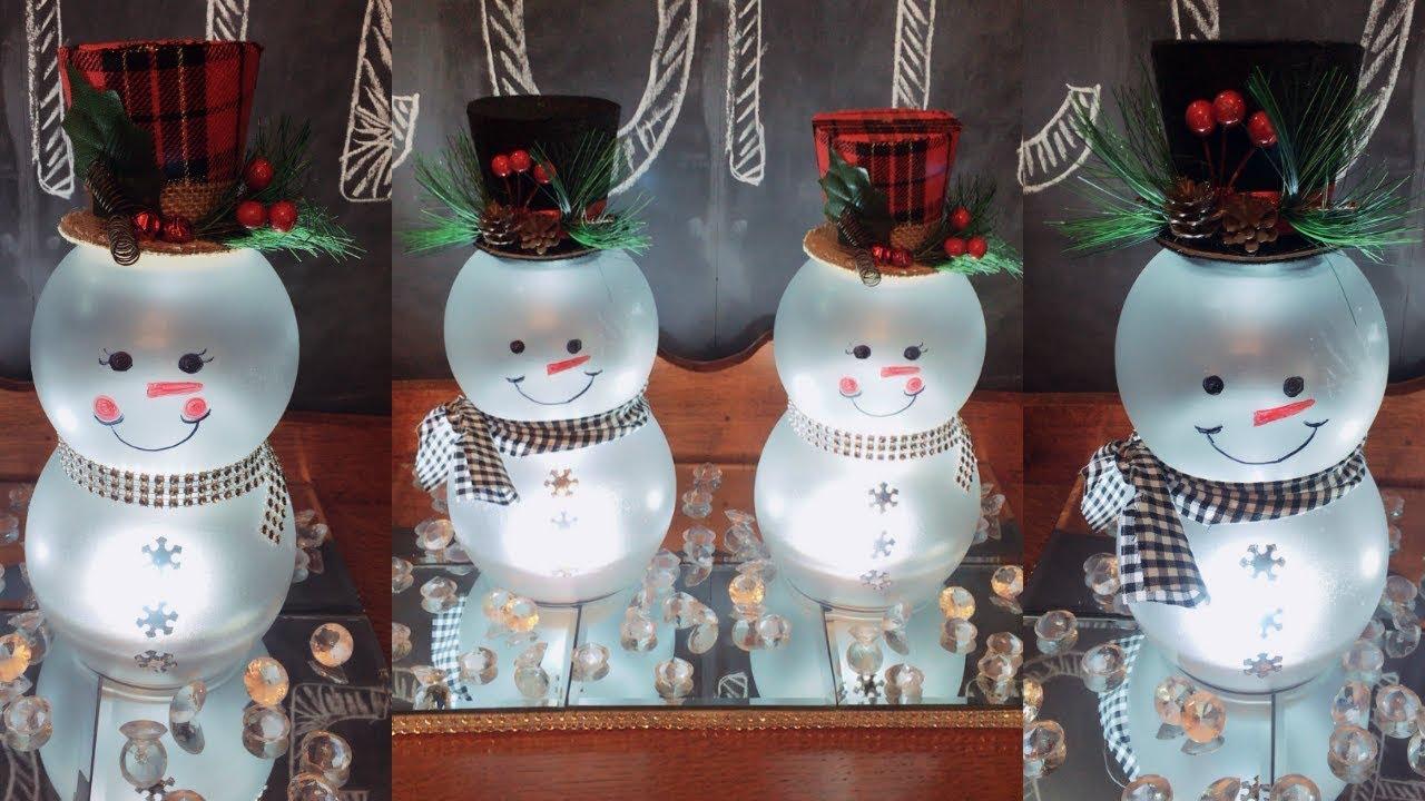 Dollar Tree Diy Lighted Mr. & Mrs. Snowmen | Christmas Home Decor