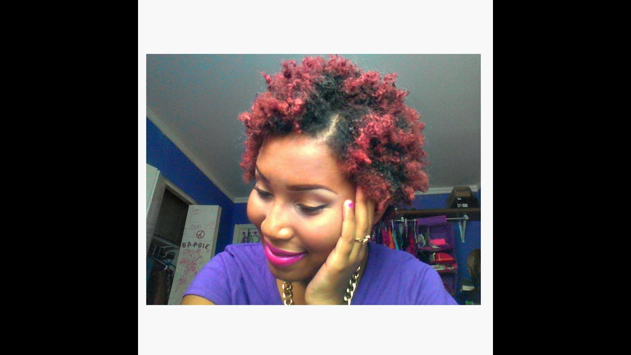 colored my Natural hair red burgundy without using - YouTube
