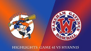 Gatemen Baseball Network Highlights: Wareham Gatemen vs. Hyannis Harbor Hawks (7/29/18)