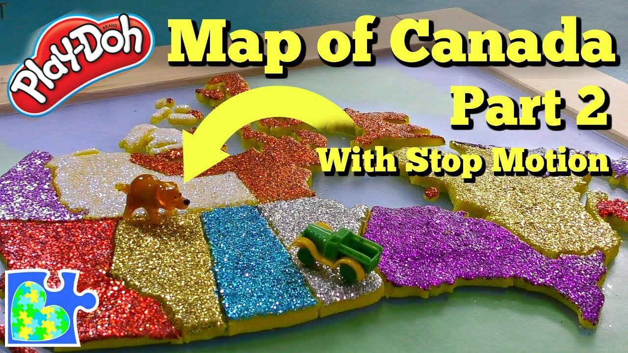 Map Of Canada Puzzle.Map Of Canada Part 2 Learn The Canadian Provinces Play Doh Puzzle