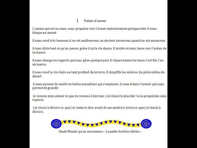 Poème Damour Intitulè Bonjour Liliane Youtube