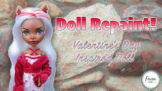 Doll Repaint! OOAK Valentine's Day Inspired Doll- Custom Clawdeen