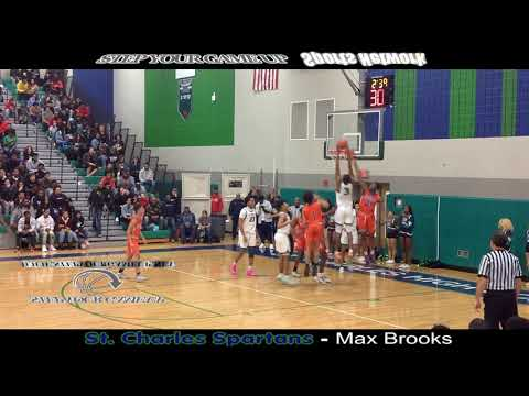 St. Charles' Max Brooks' 5 DUNKS! (oop OVER MAN WHO JUMPED, ON 2 LEAPING MEN, ON MAN, REVERSE, Oop)