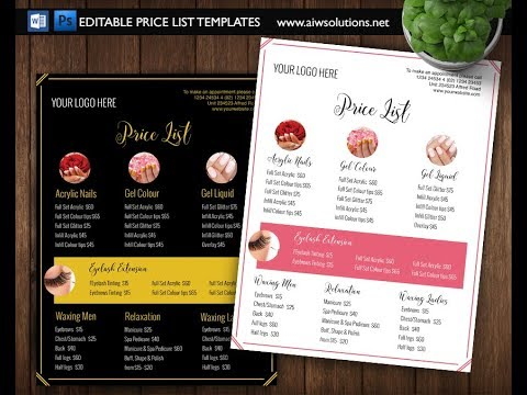 Editable Price List Template Using Photoshop  Youtube