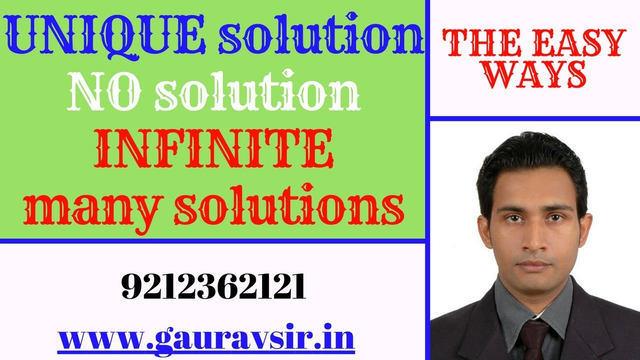 class 10th unique solution , no solution, infinite many ...