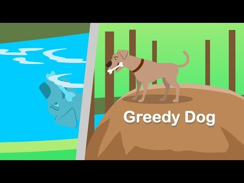 Greedy dog passing by river