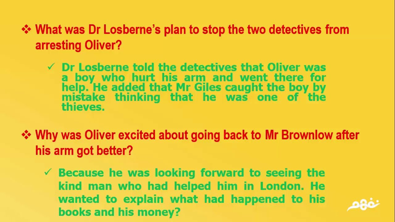 مراجعة عامة Oliver Twist للصف الأول الثانوي الترم الثاني