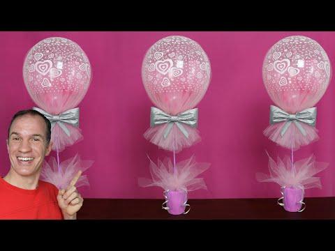 centros de mesa con globos y tul - decoracion con globos - centro de mesa - gustavo gg