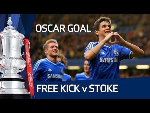 Fantastic Oscar Free Kick, Chelsea vs Stoke City FA Cup Fourth Round