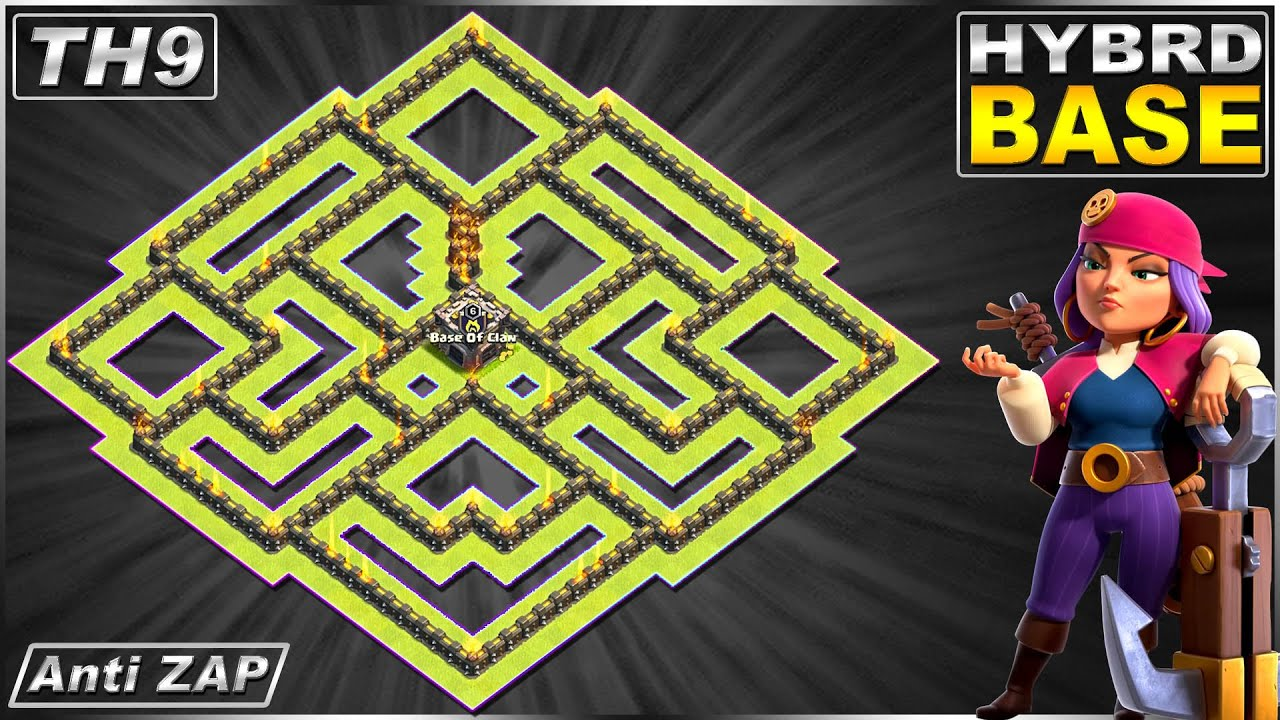 New BEST! TH9 Base 2020   Town Hall 9 (TH9) Hybrid Base ANTI ZAP - Clash of Clans